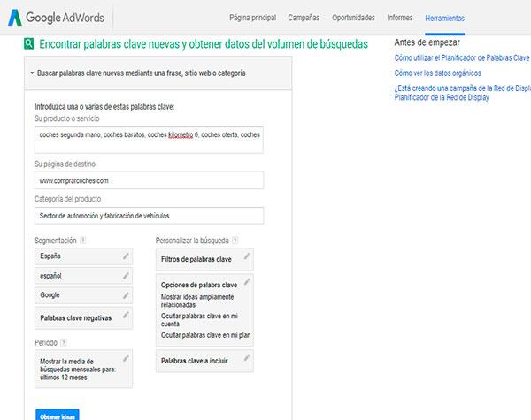 Keyword Planner es una herramienta de Google Adwords.