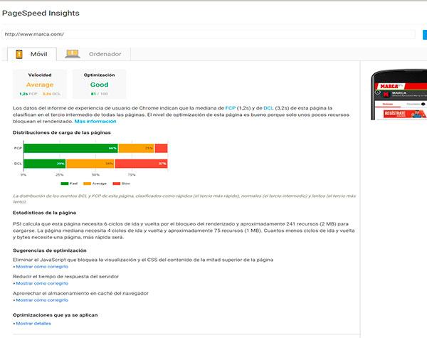 Imagen de PageSeed Insights. Herramienta SEO para analizar la velocidad de carga de una web.